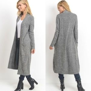 Open Front Long Line Knit Cardigan